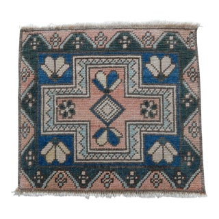 Vintage Geometrical Oushak Rug 1′4″ × 1′6″ For Sale