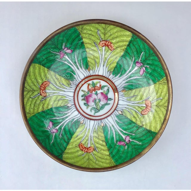 1980s Famille Rose Verte Bowl Catchall For Sale - Image 5 of 5