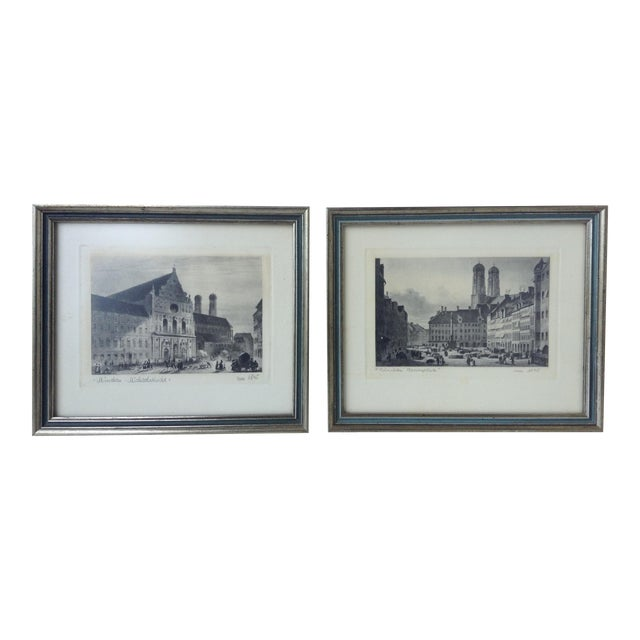 Signed German Stone Etchings - A Pair For Sale