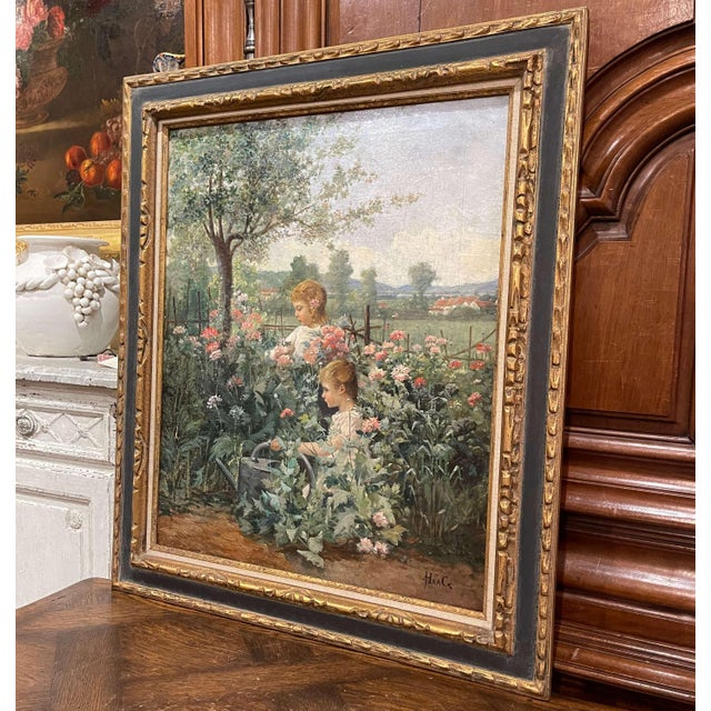 Canvas 19th Century French Oil on Canvas Painting in Carved Frame Signed Haag For Sale - Image 7 of 13
