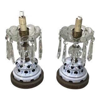 Antique 1920s Vintage Bohemian Cased Glass & Crystal Electric Table Lamps - a Pair For Sale