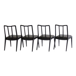 Ebonized John Stuart Dining Chairs - Set of 4 For Sale