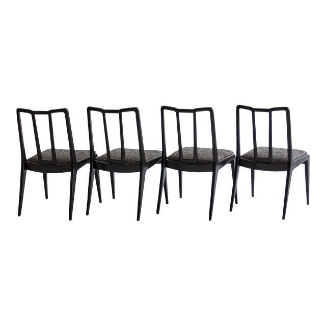 Ebonized John Stuart Dining Chairs - Set of 4 - Image 1 of 7