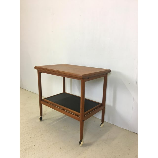 1960s Ole Wanscher Teak Convertible Bar Cart and Server For Sale - Image 5 of 8