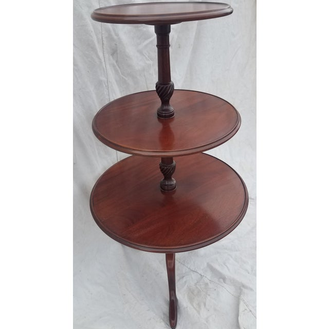 1990s 1990s Hickory Chair Co. 3 Tiered Mahogany Dumbwaiter/Butler Table Stand For Sale - Image 5 of 11