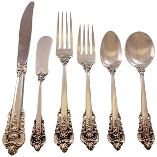 Grande Baroque by Wallace Sterling Silver Flatware Set for 48 Service 303 Pcs For Sale