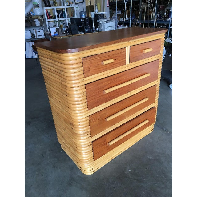 Mid-Century Modern Restored Stacked Rattan Highboy Dresser With Mahogany Top For Sale - Image 3 of 10
