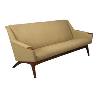 Danish Modern Sofa With Rosewood Paws and Angled Legs For Sale