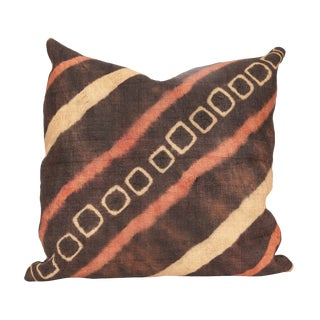 African Raffia & Belgian Linen Throw Cushion For Sale