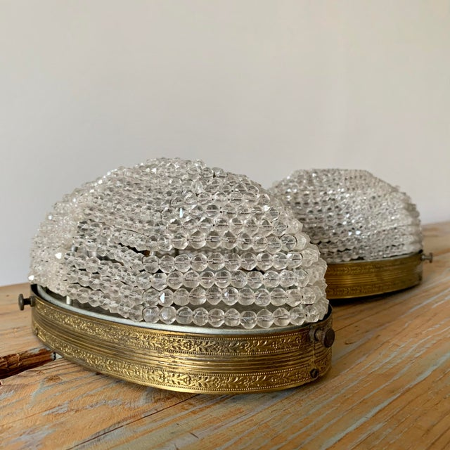 Art Deco Early 20th Century Beaded Crystal Flush Mounts Rewired - a Pair For Sale - Image 3 of 7