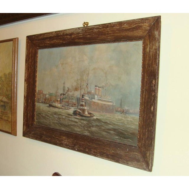 19th C. Oil Painting of Boats in a Harbor - Image 6 of 6