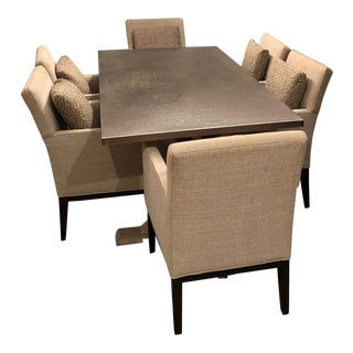 Contemporary Bernhardt Stockton Metal Dining Set - 7 Pieces For Sale