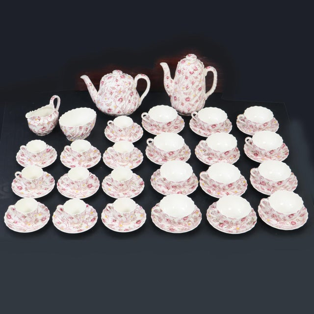 "We are happy to offer this large set of Vintage English Spode Copeland China dinnerware in the ""Rosebud Chintz"" Pattern...."