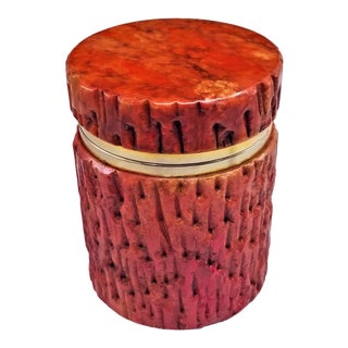 Vintage 1950s Red Alabaster Jewelry Box With a Fois Bois Tree-Like Carved Texture For Sale