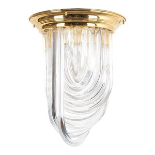 Venini Curved Crystal Glass Gilt Brass Flush Mount Lamp, Italy, 1960 For Sale