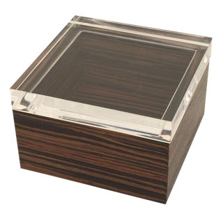 Lucite & Macassar Ebony Jewelry Box For Sale
