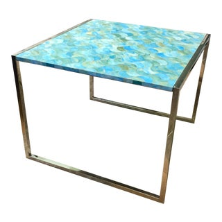 Contemporary Marble Blue Wave Table For Sale