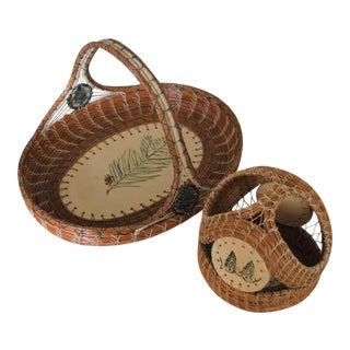 Pine Needle Artisan Baskets With Ceramic Accents - a Pair For Sale