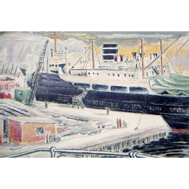 Mid-Century Modern Alexanderson Swedish Harbor 1940s Color Lithograph For Sale - Image 3 of 6
