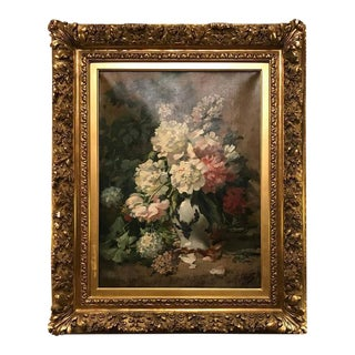 19th Century Floral Still Life Oil on Canvas Painting
