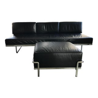 Le Corbusier Lc3 Sofa and Matching Cassina Ottoman - 2 Pc. Set For Sale