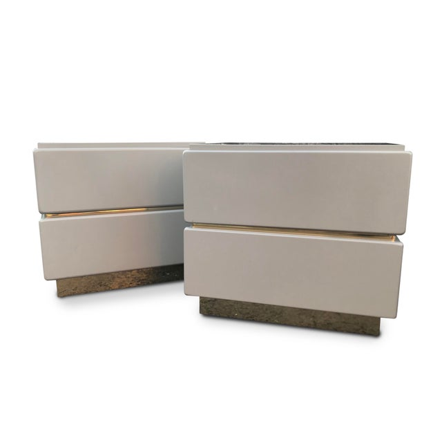 Vintage Lane Brass and Lacquered Nightstands-A Pair For Sale - Image 9 of 12