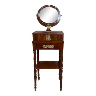 Antique French Vanity with Mirror with Brass Details For Sale