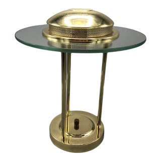 Mid Century Polish Brass Hollow Gown Desk Lamp 1970's For Sale