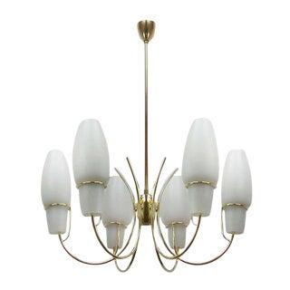 1950s Stilnovo Italian Opaline Glass Brass Chandelier For Sale