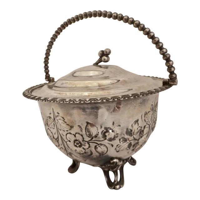 Art Nouveau Silver Plated Covered Bowl w. Floral Decoration For Sale