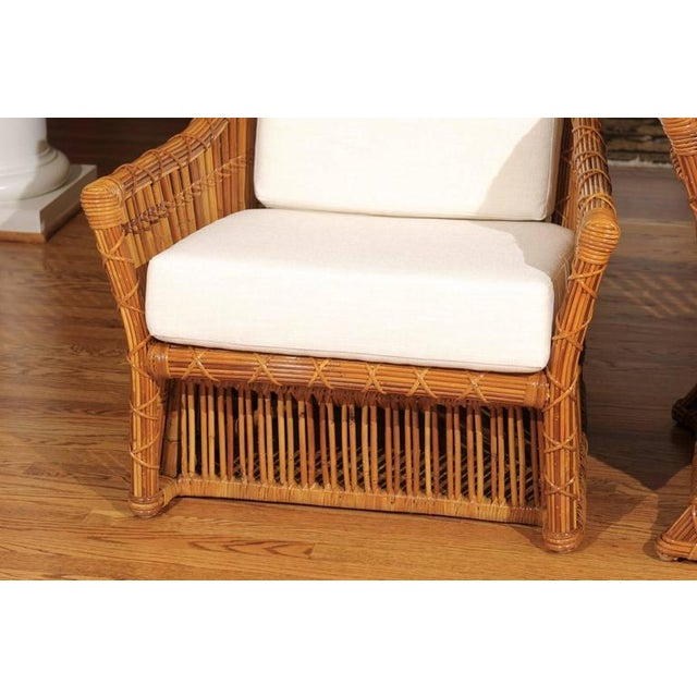 Magnificent Pair of Restored Vintage Rattan Club Chairs by McGuire - Image 5 of 10