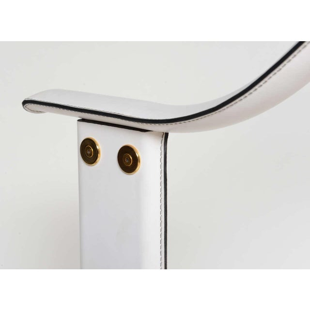 An Italian Stitched Leather and Gold Plated Floor Lamp For Sale - Image 10 of 11