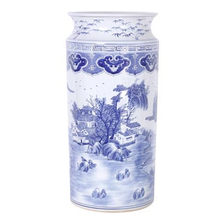 Blue and White Porcelain Umbrella Stand For Sale