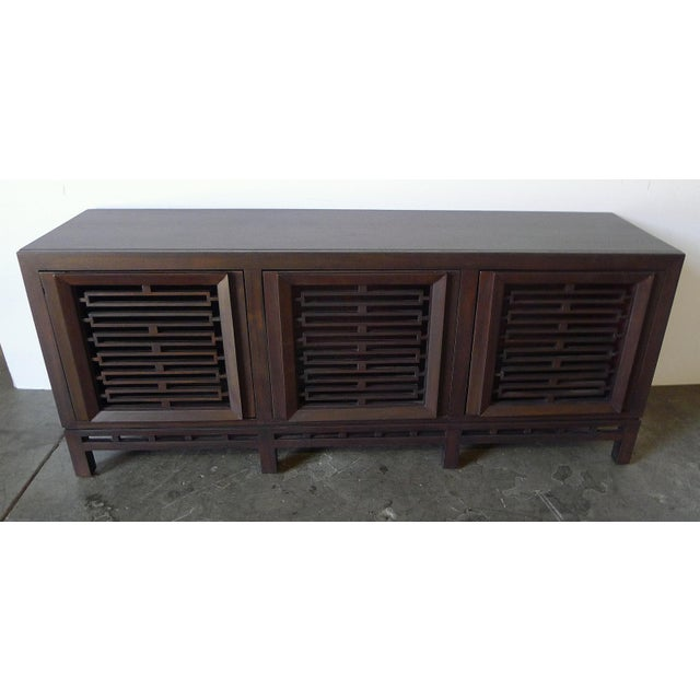Wood Mid-Century Low Walnut Cabinet For Sale - Image 7 of 7