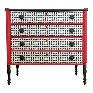 Black, White, and Red Chest of Drawers For Sale