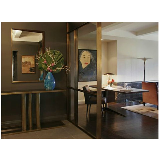 """Glass The """"Calandre"""" Brass and Bronze Mirrored Console For Sale - Image 7 of 9"""