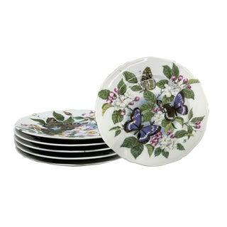 Rochard Limoges Butterfly Dessert Plates — Set of 6 For Sale