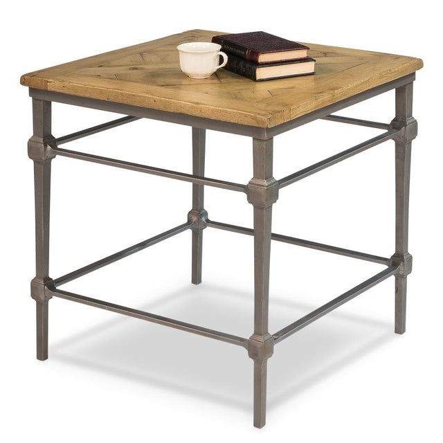 Estimated Retail Price: $894.00.Old wood is worked into a parquet pattern for the top of this 24 in. table. It has our...