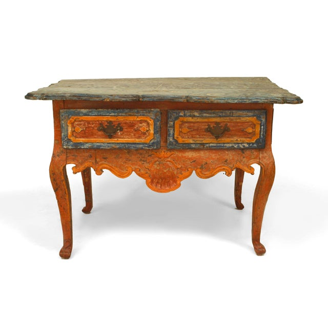 Rustic Continental (Portuguese) 18th century orange and blue painted commode with two drawers and a blue decorated top...