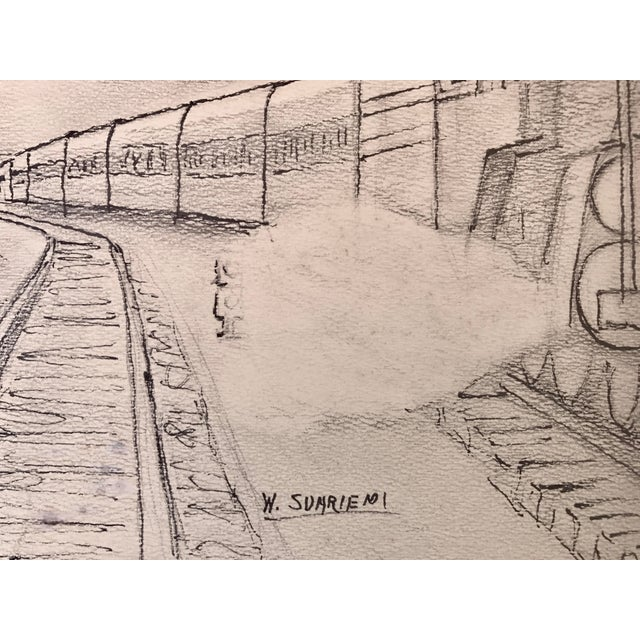 Vintage Art Deco Steam Locomotive NY Drawing For Sale - Image 4 of 5