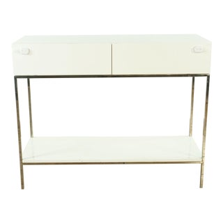 Modern West Elm White Console Table With Storage For Sale