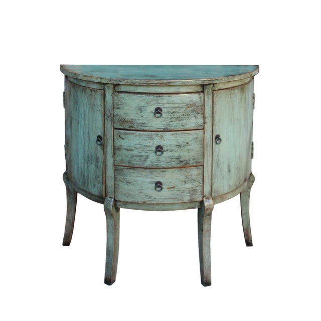 This is an oriental half round pedestal table made of wood and finished in distressed grayish celadon light green lacquer....