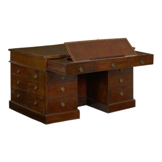 George III Mahogany Partner's Antique Pedestal Writing Table Desk, England Circa 1800 For Sale