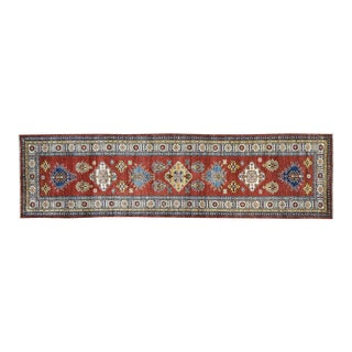 Hand-Knotted Red Kazak Runner- 2′9″ × 10′1″ For Sale