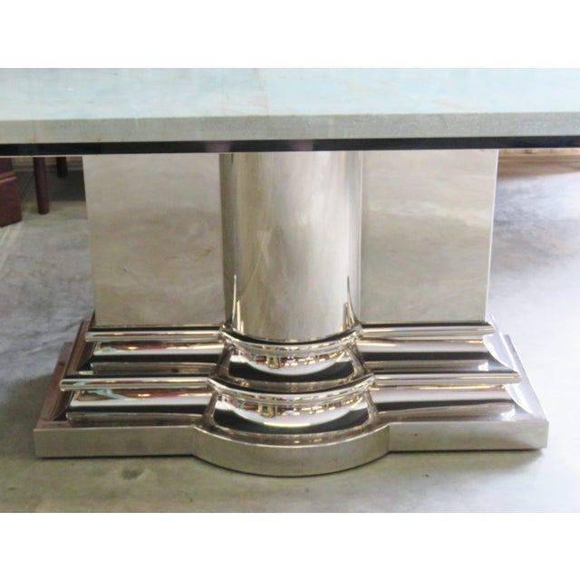 Brueton Column Base Glasstop & Marble Dining Table - Image 5 of 6