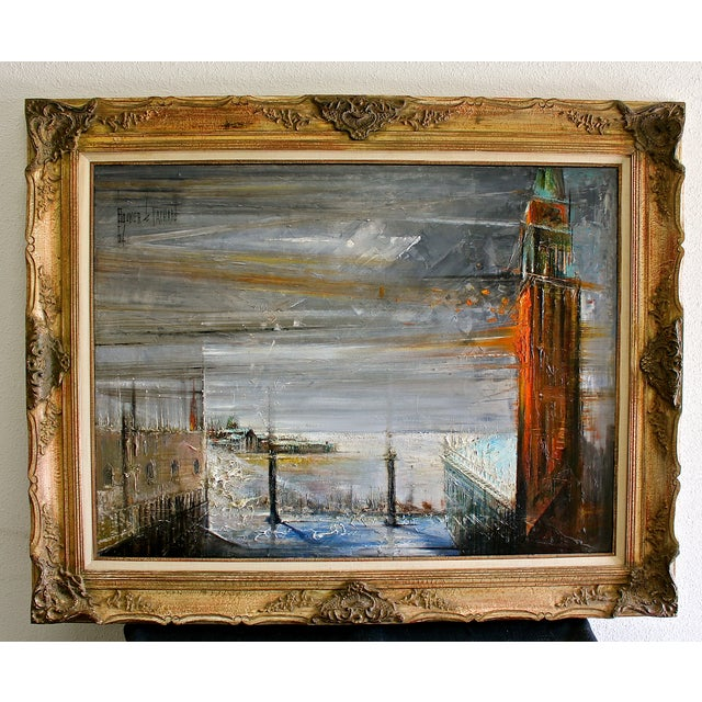 A rare, surreal expressionist landscape painting by Regis Bouvier de Cachard, (French, born 1929). View from St. Mark's...