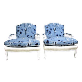 French Bergère Armchairs in White Lacquer and Designers Guild Jacaranda - a Pair For Sale