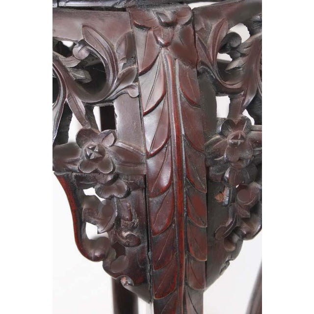 Antique Chinese Carved Rosewood Marble Top Stand For Sale - Image 4 of 7