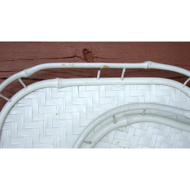 Hollywood Regency White Bamboo Rattan Trays - Image 11 of 11