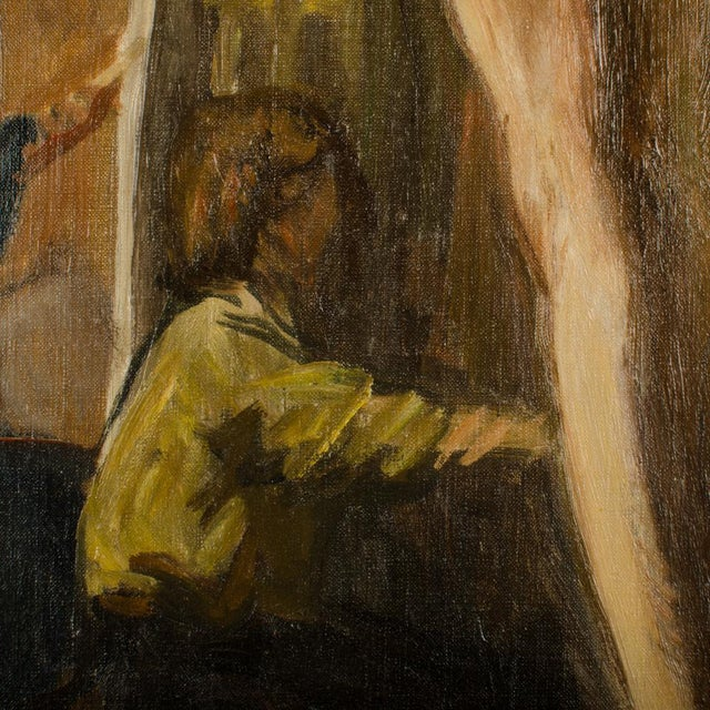 Nude Man Modeling in Studio - Oil on Canvas , signed lower right dated 1933 - Unframed